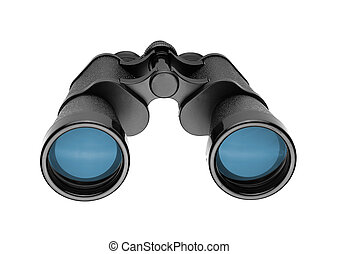 Binoculars and blue sky, concept