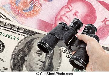 Binoculars and dollar, chinese yuan - Binoculars, chinese ...