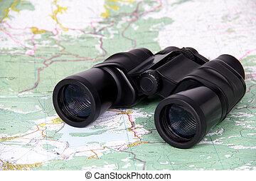 Binoculars and map