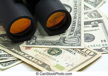 Binoculars and money - Discovers the wealth,Binoculars and...