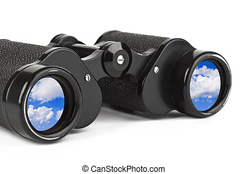 Binoculars and reflection of sky