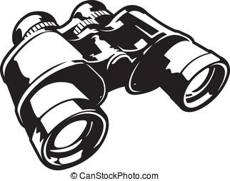 Binoculars Black and White Cartoon Vector Graphic...