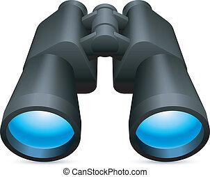 Black binoculars with blue lenses.