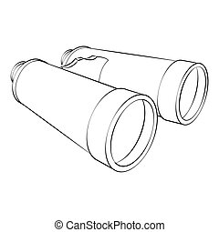 Binoculars - Black outline vector binoculars on white...