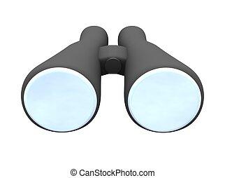 Binoculars isolated on white. 3d rendered illustration.