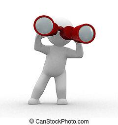 Binoculars - 3d human looking with red binoculars