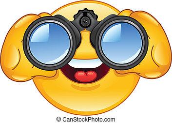 Binoculars emoticon - Emoticon looking through binoculars