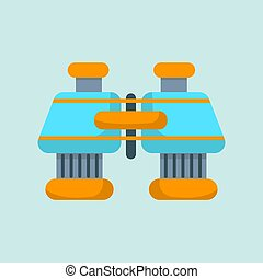 Binoculars flat icon vector isolated on blue background for your web and mobile app design, Binoculars logo concept