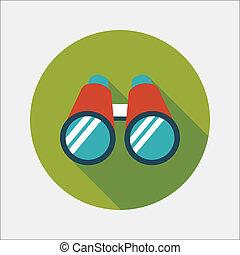 Binoculars flat icon with long shadow