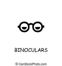 Binoculars flat vector icon