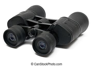 Binoculars Front - Black binoculars isolated on white. File...