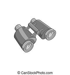 Binoculars icon, black monochrome style - Binoculars icon in...