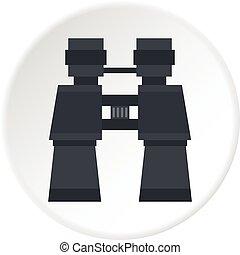 Binoculars icon circle - Binoculars icon in flat circle...
