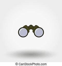 Binoculars icon. Flat
