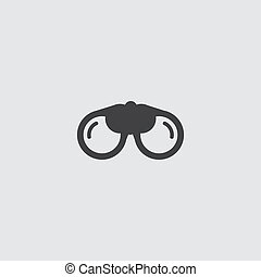 Binoculars icon in a flat design in black color. Vector illustration eps10