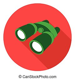Binoculars icon in flat style isolated on white background. Camping symbol stock vector illustration.