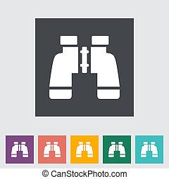 Binoculars icon. Single icon. Vector illustration.