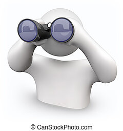 Binoculars - Looking for Help - A person looks through...