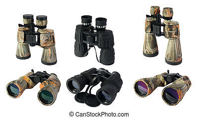 Binoculars on the white background