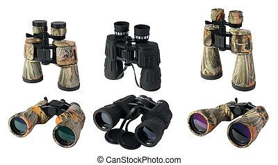 Binoculars on the white background