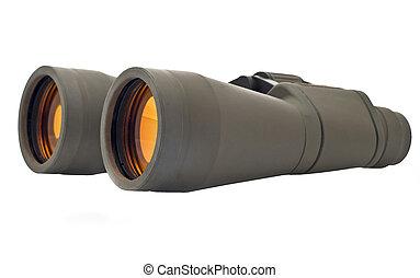 Binoculars (pair of glasses) over white background