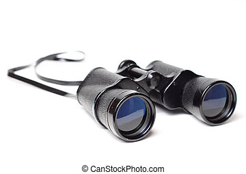 Binoculars - Pair of old binoculars isolated on white...