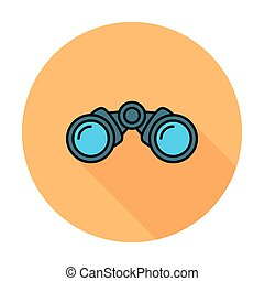 Binoculars. Single flat color icon on the circle. Vector...