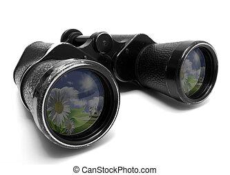 binoculars - Photo of old binoculars, isolated on a white...