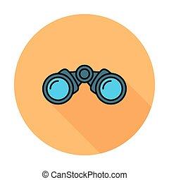 Binoculars. Single flat color icon on the circle. Vector...