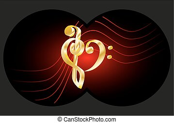 Binoculars view, Heart - violin and bass clef, Music note...