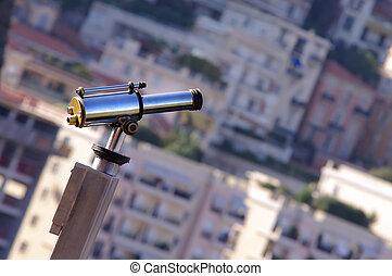binoculars view of city