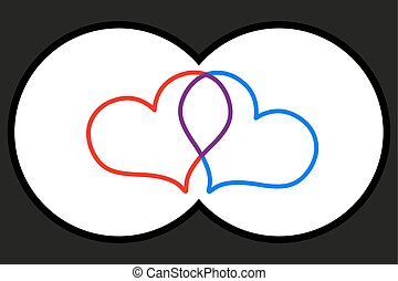Binoculars view,two hearts,