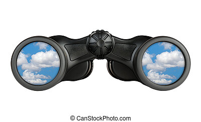 Binoculars with reflection of blue sky in lenses isolated on white background