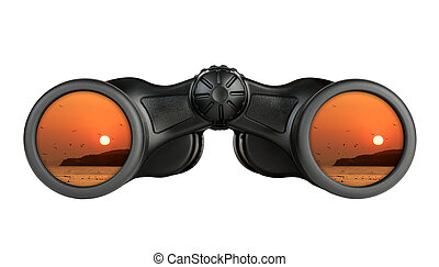 Binoculars with reflection of sunset in lenses isolated on white background