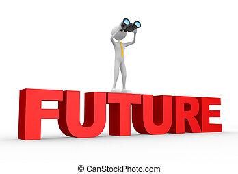 binokulär, framtid, ord