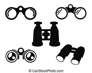 binokulär, ikon, symbol, sätta