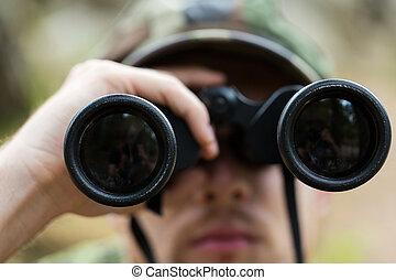 binokulär, jägare, uppe, soldat, nära, eller