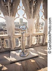 Binoscope, Stationary binoculars on Cathedral or Duomo di Milano, Italy