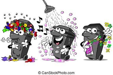 Bins - Cartoon wheelie bins. Full and smelly, showering,...