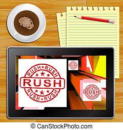 binse, tablette, ausstellung, ausdrücklich, abbildung, auslieferung, 3d