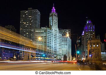 binse, verkehr, stunde, chicago