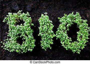 bio, écrit, à, herbage