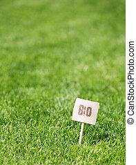 bio, świeży, zielona trawa, etykieta