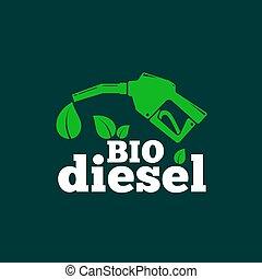 bio, ∥あるいは∥, 葉, concept., 抽象的, 燃料, ディーゼル, 印, typography., ベクトル, 緑の背景, 燃料, ロゴ, template., ピストル, シンボル