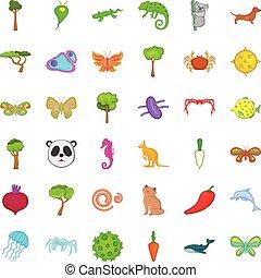 bio, スタイル, アイコン, セット, 環境, 漫画