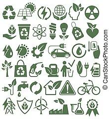 bio, セット, アイコン, eco, エネルギー, 隔離された, o, 源, 緑, サイン, 味方