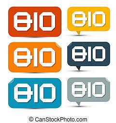 bio, セット, カラフルである, タグ, ラベル, -, ペーパー, ステッカー
