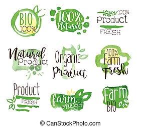 bio, セット, カラフルである, 健康, promo, 食物, サイン