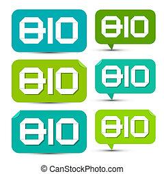 bio, セット, タグ, ラベル, -, ペーパー, 緑, ステッカー