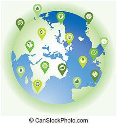 bio, セット, 小さな点, アイコン, eco, 地球, シンボル, 環境, 提示